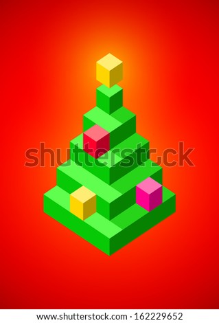 Christmas tree with baubles made of 3D pixels