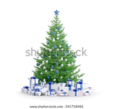 Christmas tree with blue silver baubles, gifts isolated over white 3d render - stock photo