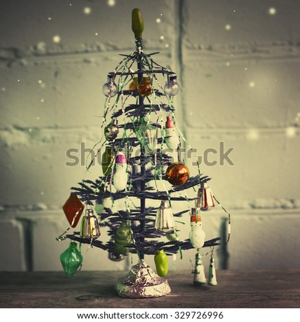 Christmas tree with Christmas decorations in vintage style