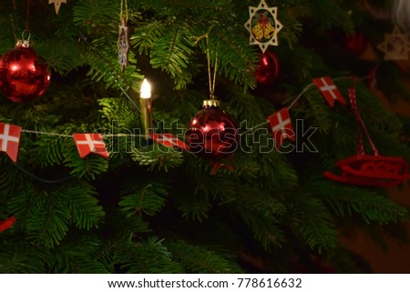 Christmas tree with Danish flag and red balls