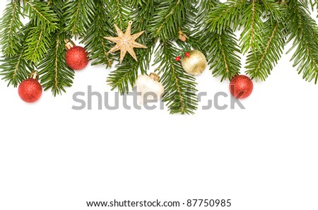 Christmas tree with decoration - border isolated - stock photo