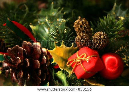 Christmas tree with decorations - stock photo
