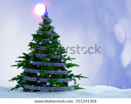 Christmas tree with decorations and snow on decorative background. - stock photo