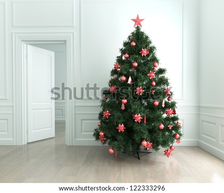 Christmas tree with decorations in the living room - stock photo