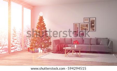 Christmas Tree Decorations Living Room 3d Stock Illustration ...