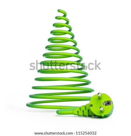 Christmas tree with electric cables on a white background - stock photo