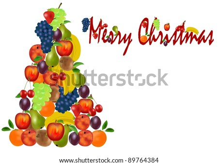 Christmas tree with fruit - stock photo