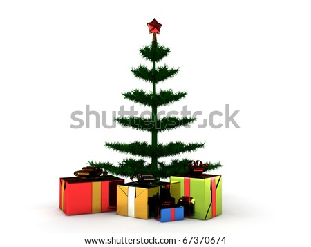 Christmas tree with gifts isolated on white background. High quality 3d render.