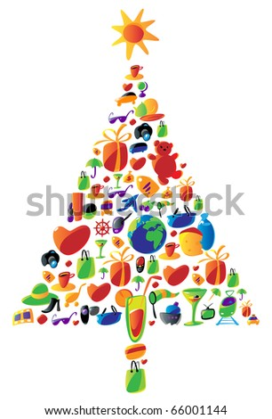 Christmas tree with gifts made of icons. Raster version. For vector version of this image, see my portfolio. - stock photo