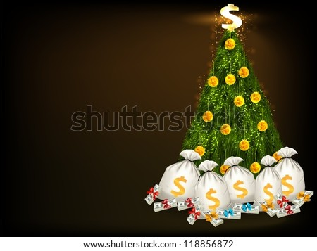 Christmas tree with gold and money as a gift/Christmas tree with money and gold - stock photo