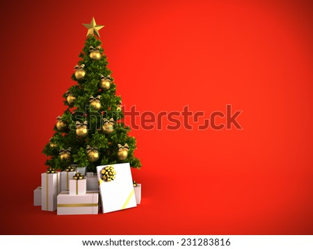 Christmas tree with gold decor isolated on red background
