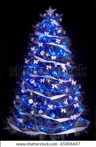 Christmas Tree Light Blue Star Black Stock Photo 65006647 ...