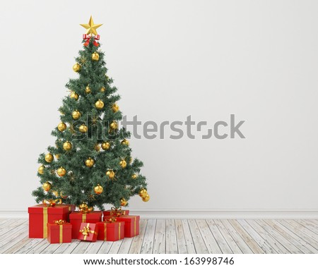 Christmas tree with presents in the vintage room, background - stock photo