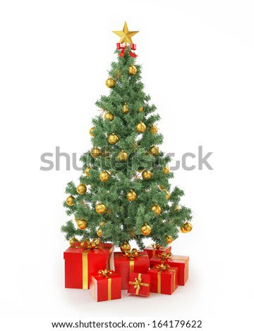 Christmas tree with presents isolated on white background