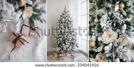 Christmas tree with presents underneath in living room, collage. - stock photo