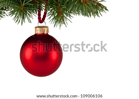 christmas tree with red bauble, isolated against white background - stock photo
