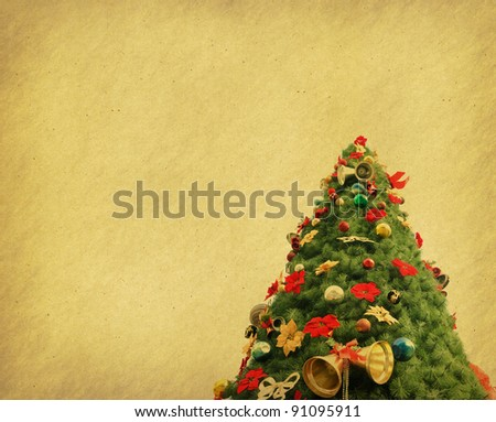 Christmas tree with set of abstract painted background