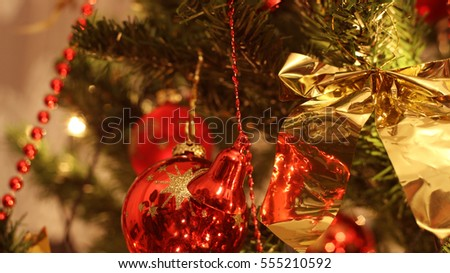Christmas tree with shiny colors and decoration