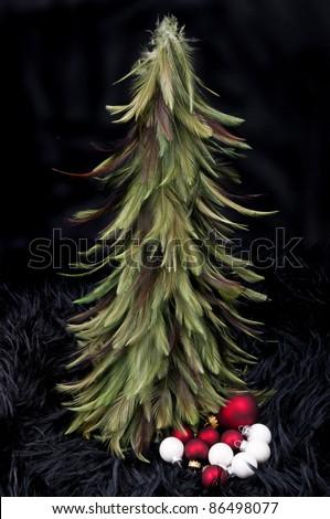 Christmas tree with some balls - stock photo