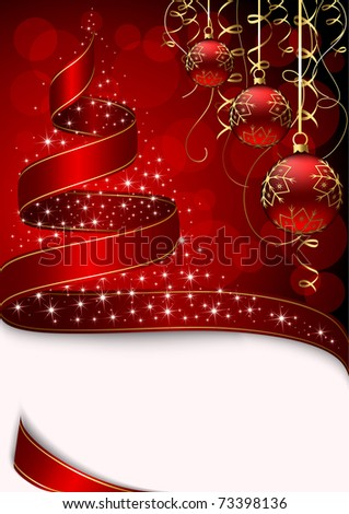 Christmas tree with stars and balls on red background, illustration - stock photo