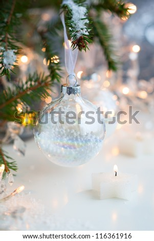 Christmas tree with transparent Christmas Baubles - stock photo