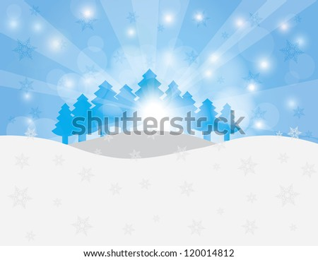 Christmas Trees in Winter Scene with Snowflakes and Sun Rays Background Raster Vector Illustration