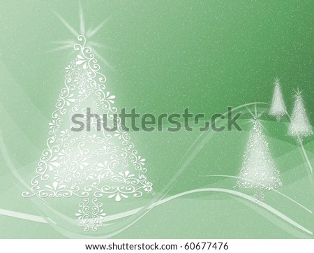 Christmas trees on Green swirl wavy background illustration