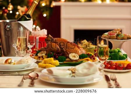Christmas Turkey Dinner - stock photo