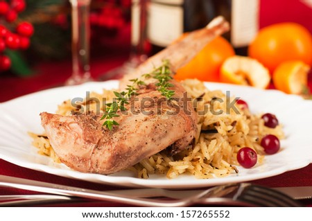 Christmas turkey with berries and oranges - stock photo