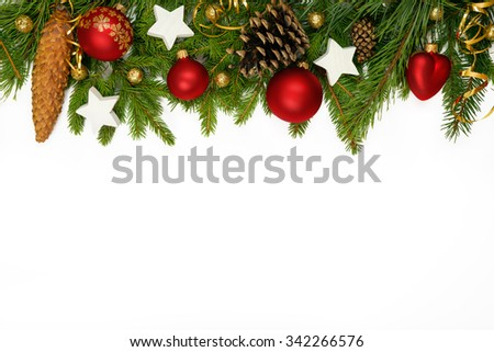 Christmas upper decoration with balls, stars  and cones  on white background. - stock photo