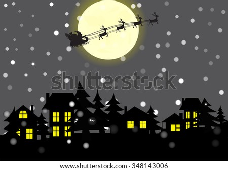 Christmas village and Santa Claus in the background of the moon.