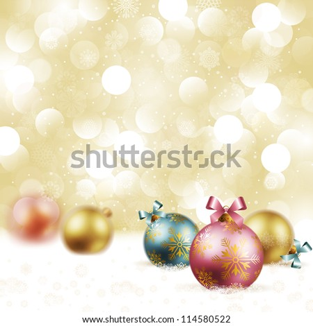 Christmas vintage background with baubles on snow. Check my portfolio for vector version. - stock photo