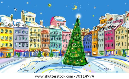 Christmas vintage card with the urban landscape and snowfall - stock photo