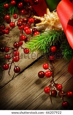 Christmas Vintage decoration border design over wooden background - stock photo