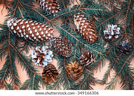 Christmas Vintage Fir Tree, beautiful Christmas tree cones