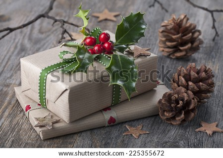 Christmas vintage presents on a wooden background - stock photo