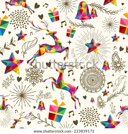 Christmas vintage retro style seamless pattern. Colorful triangles with grunge texture reindeer and snowflakes composition. - stock photo