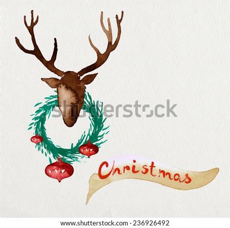 Christmas watercolor postcard. Deer and wreath - stock photo