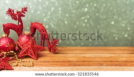 Christmas website banner background with decorations on wooden table - stock photo