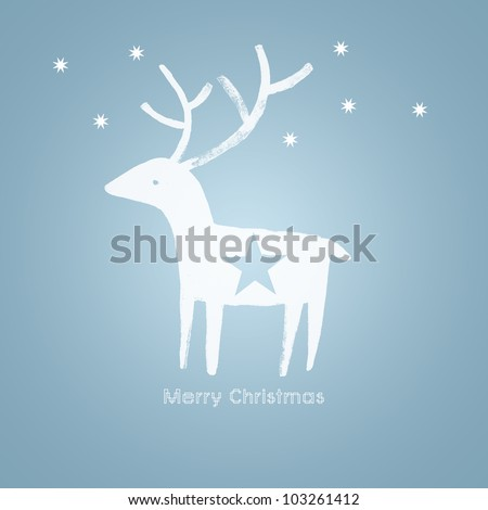 Christmas white deer on blue background - stock photo