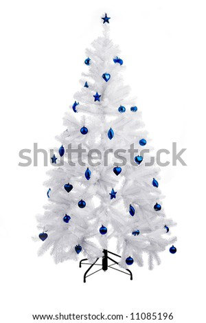 Christmas white tree with blue ornaments - stock photo