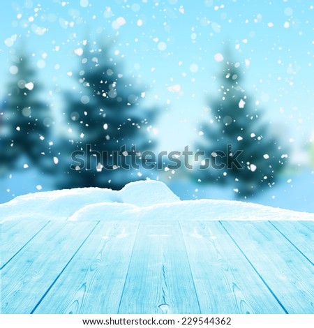 christmas winter background with wooden planks  - stock photo
