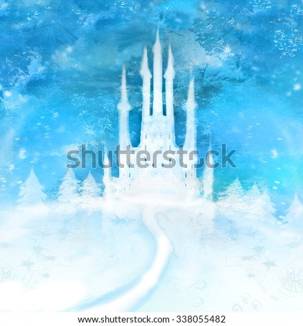 Christmas winter castle  on the hill  - stock photo