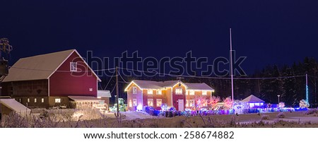 Christmas winter decoration on the houses in Sweden, Europe - stock photo
