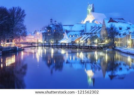 Christmas winter evening in Landshut, german town near Munich, Germany - stock photo