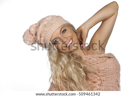 christmas winter girl wearing knitted wear scarf. Excited beautiful smiling woman, winter concept, isolated