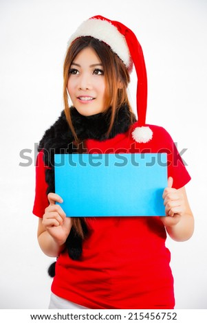 christmas winter happiness happy with red hat holding blank card