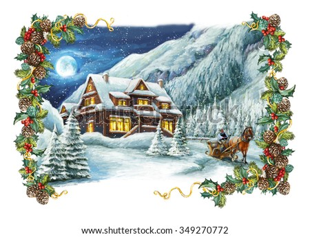 Christmas winter happy scene with frame - illustration for the children