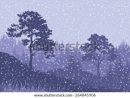 Christmas Winter Mountain Landscape with Pine and FirTrees, Sky with Snow and Clouds - stock photo