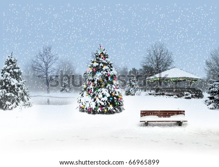 christmas, winter, snow, park, gazebo - stock photo
